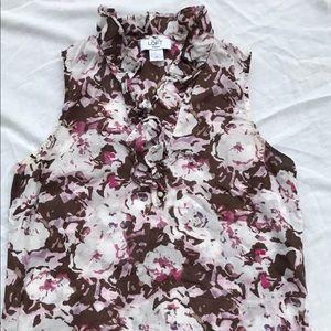 Ann Taylor Loft flower sleeveless blouse size SP